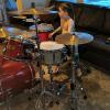 John Tate's Live Set up - Pearl Session Studio Classic Birch/Mahogany in Sequoia Red w/Pearl Eric Singer Signature Maple Snare & Sabian Cymbals (and my nephew checking out my kit)